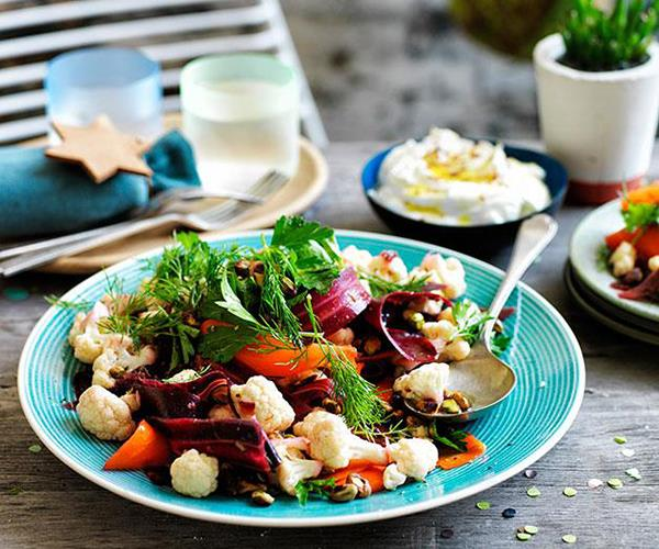 "[Cauliflower salad with orange and cumin dressing, and buffalo yoghurt](https://www.gourmettraveller.com.au/recipes/browse-all/cauliflower-salad-with-orange-and-cumin-dressing-and-buffalo-yoghurt-11822|target=""_blank"")"