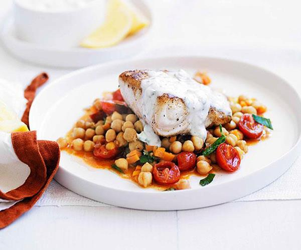 "[Spiced blue-eye with chickpeas and minted yoghurt](https://www.gourmettraveller.com.au/recipes/fast-recipes/spiced-blue-eye-with-chickpeas-and-minted-yoghurt-13181|target=""_blank"")"
