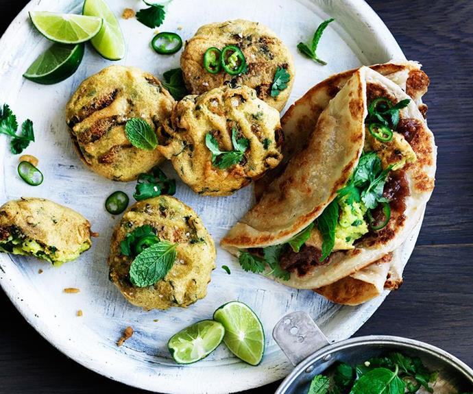 "[Spiced potato and pea fritters with sweet and sour chutney](https://www.gourmettraveller.com.au/recipes/browse-all/spiced-potato-and-pea-fritters-with-sweet-and-sour-chutney-12584|target=""_blank"")"