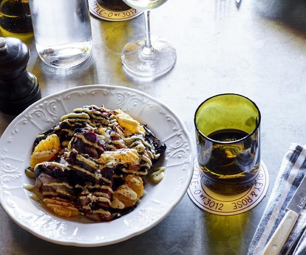 "[Grilled radicchio and orange salad with Grand Marnier vinaigrette](https://www.gourmettraveller.com.au/recipes/chefs-recipes/grilled-radicchio-and-orange-salad-with-grand-marnier-vinaigrette-16083|target=""_blank"")"