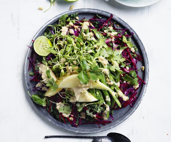 "[Crunchy slaw with peanut-lime dressing](https://www.gourmettraveller.com.au/recipes/browse-all/crunchy-slaw-with-peanut-lime-dressing-15681|target=""_blank"")"