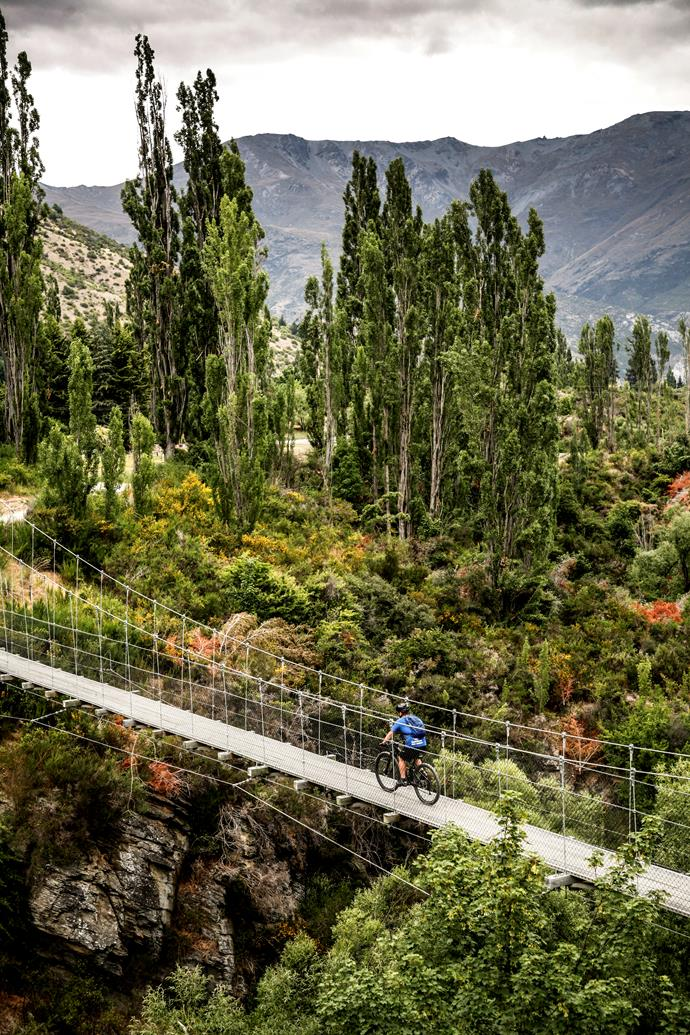 Electric-biking across the Southern Discoveries suspension bridge over Arrow River.
