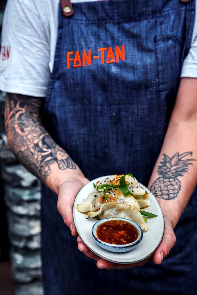 Pork gyoza at Fan-Tan Kitchen & Bar.