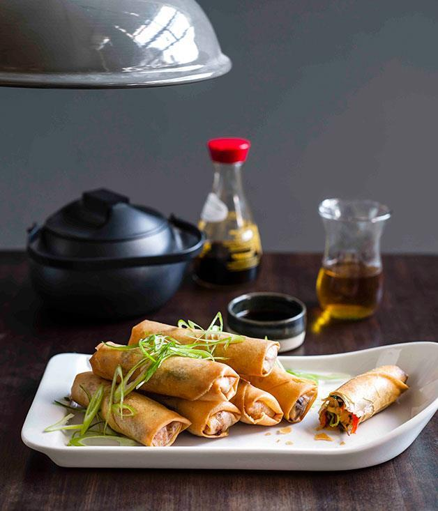 "**[Spring rolls](https://www.gourmettraveller.com.au/recipes/browse-all/chinese-spring-rolls-8776|target=""_blank"")**"