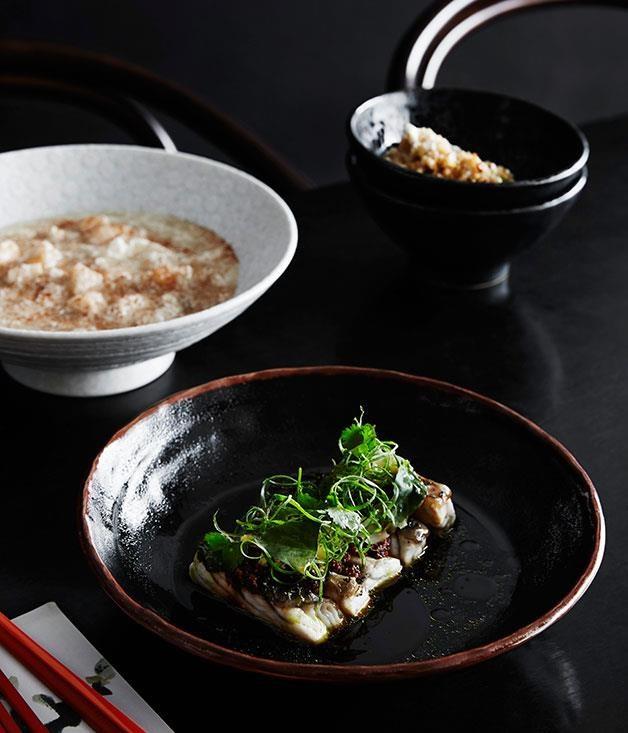 "[Steamed barramundi, chilli black beans and pickled mustard greens](https://www.gourmettraveller.com.au/recipes/chefs-recipes/steamed-barramundi-chilli-black-beans-and-pickled-mustard-greens-8307|target=""_blank"")"