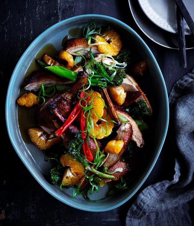 """[Soy-roast duck with mandarin](https://www.gourmettraveller.com.au/recipes/browse-all/soy-roast-duck-with-mandarin-12821