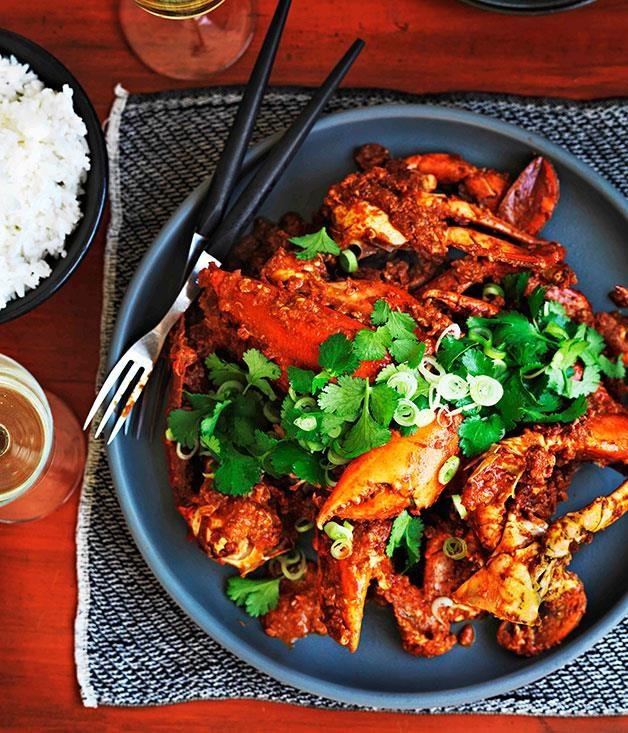 "[Singaporean Chilli Crab](https://www.gourmettraveller.com.au/recipes/browse-all/singapore-chilli-crab-8772|target=""_blank"")"