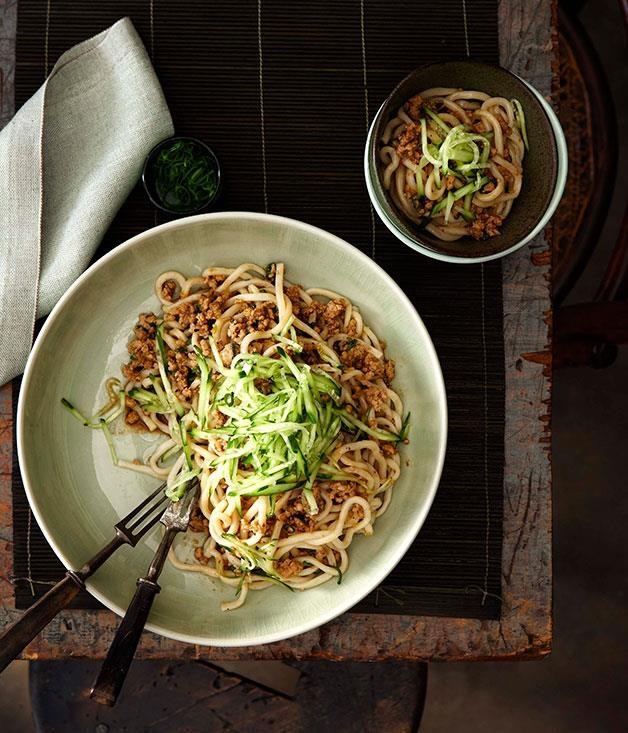 "[Minced pork tossed noodles (Zhajiang mian)](https://www.gourmettraveller.com.au/recipes/chefs-recipes/minced-pork-tossed-noodles-zhajiang-mian-7334 target=""_blank"" rel=""nofollow"")"