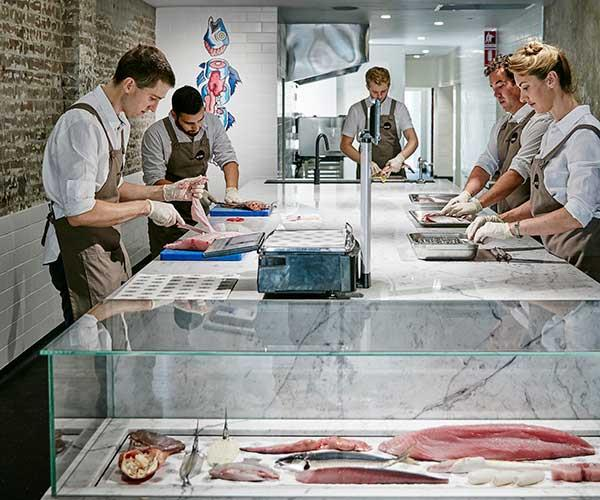 Josh Niland (left) and Alanna Sapwell (right) at Fish Butchery.
