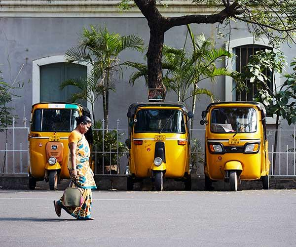 Auto rickshaws in the French Quarter, Pondicherry (Photo: Alicia Taylor)