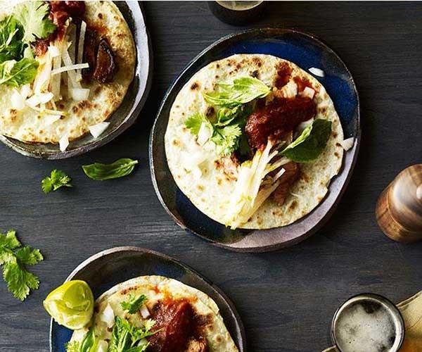 "[**Ghostboy Cantina's pork tacos with salsa roja and nashi**](https://www.gourmettraveller.com.au/recipes/chefs-recipes/ghostboy-cantinas-pork-tacos-with-salsa-roja-and-nashi-9271|target=""_blank"")"