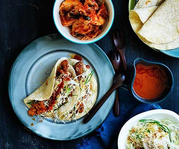 "**[Bulgogi pork tacos with nashi slaw](https://www.gourmettraveller.com.au/recipes/browse-all/bulgogi-pork-tacos-with-nashi-slaw-12196|target=""_blank"")**"