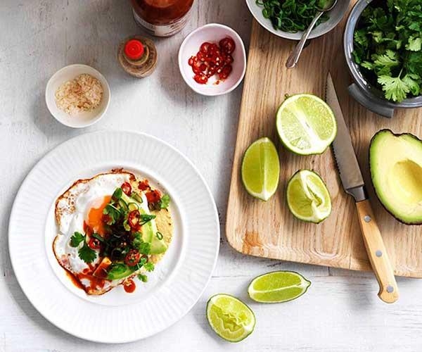 "**[Fried egg, avocado and chill tacos](https://www.gourmettraveller.com.au/recipes/browse-all/fried-egg-avocado-and-chilli-tacos-14164|target=""_blank"")**"