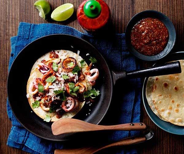 "**[Calamari tacos with chilli sauce](https://www.gourmettraveller.com.au/recipes/chefs-recipes/calamari-tacos-with-chilli-sauce-7766|target=""_blank"")**"