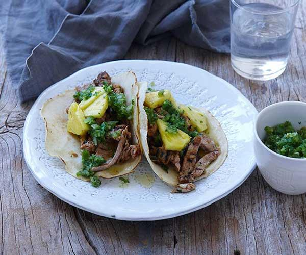 "**[Ben Shewry's pork and pineapple tacos](https://www.gourmettraveller.com.au/recipes/chefs-recipes/pork-and-pineapple-tacos-7901|target=""_blank"")**"