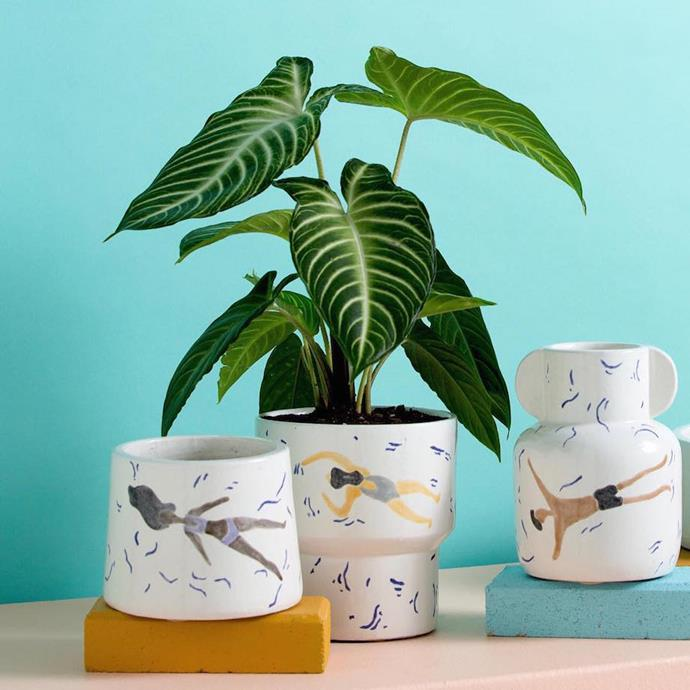 """**Jones & Co vase** Jones & Co.'s hand-painted terracotta pots capture the fun and frivolity of Australian summers with cheery illustrations. They make the perfect home for your green friends. [Jonesandco.com.au](https://jonesandco.com.au/collections/vases-vessels/products/freestyle-handle-vase