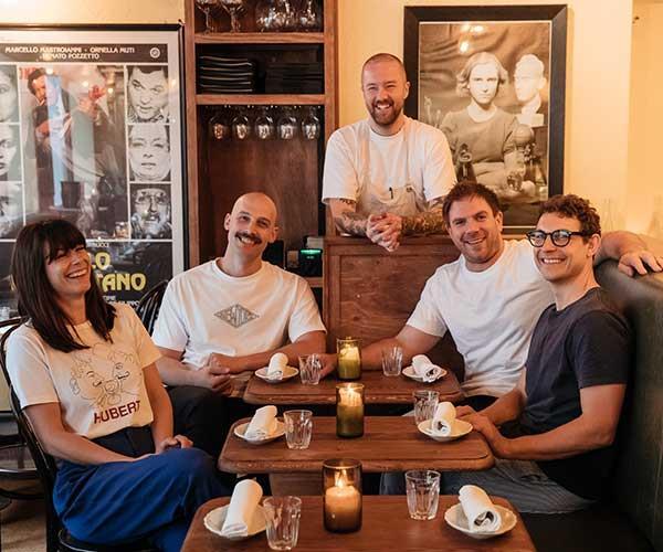 From left: Alberto's Lounge's Allie Webb, Stefan Forte, Dan Pepperell (standing), Toby Hilton, Anton Forte.