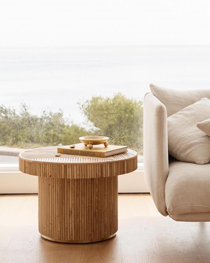 """**Sarah Ellison Elton side table** Encapsulating the undone simplicity of 1970s Australian coastal design, Sarah Ellison's gold collection heroes contemporary silhouettes, nostalgic natural materials and brass accents. The result? Modern pieces with scene-stealing appeal, like this rattan side table. [sarahellison.com.au](https://sarahellison.com.au/products/elton?variant=13596120743971