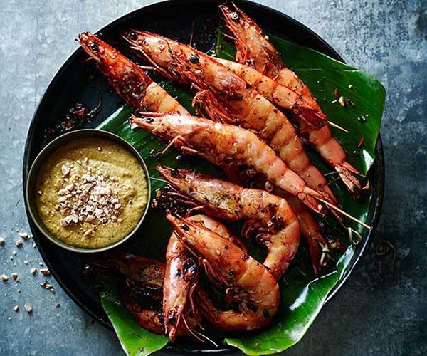 """[Prawn satay](http://www.gourmettraveller.com.au/recipes/chefs-recipes/prawn-satay-8201 target=""""_blank"""")"""
