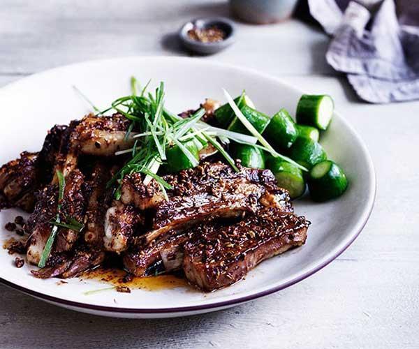 "[Sichuan spiced lamb ribs](https://www.gourmettraveller.com.au/recipes/browse-all/sichuan-spiced-lamb-ribs-12021 target=""_blank"")"