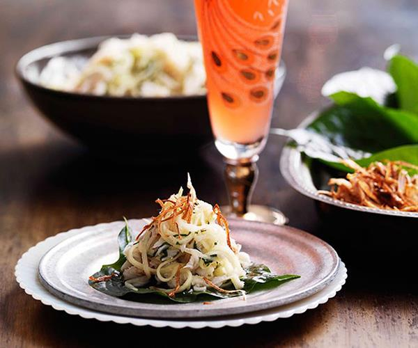"""[Crab, coconut and kaffir lime on betel leaves](https://www.gourmettraveller.com.au/recipes/browse-all/crab-coconut-and-kaffir-lime-on-betel-leaves-10621 target=""""_blank"""")"""