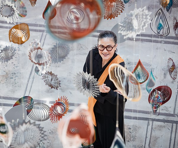"Kylie Kwong at Nick Cave's art installation, ""Until"" (Photo: Daniel Boud)"