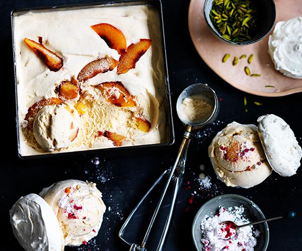 "[Roast peach ice-cream meringue sandwiches with raspberry sherbet](https://www.gourmettraveller.com.au/recipes/browse-all/roast-peach-ice-cream-meringue-sandwiches-with-raspberry-sherbet-12680|target=""_blank"")"