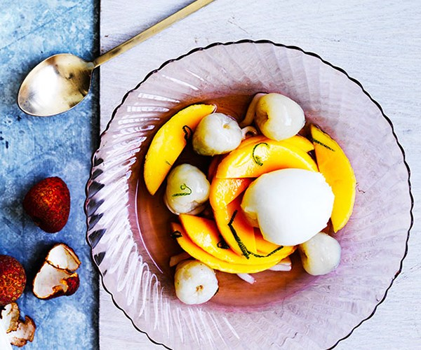 "[Lychee and mango with lime-coconut syrup and lemon gelato](http://www.gourmettraveller.com.au/recipes/browse-all/lychee-and-mango-with-lime-coconut-syrup-and-lemon-gelato-12428|target=""_blank"")"