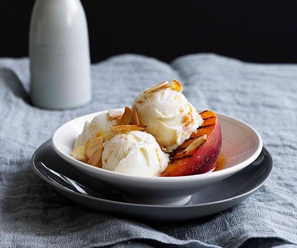 """[Grilled peaches with sherry and apricot-delight ice-cream](https://www.gourmettraveller.com.au/recipes/browse-all/grilled-peaches-with-sherry-and-apricot-delight-ice-cream-10848