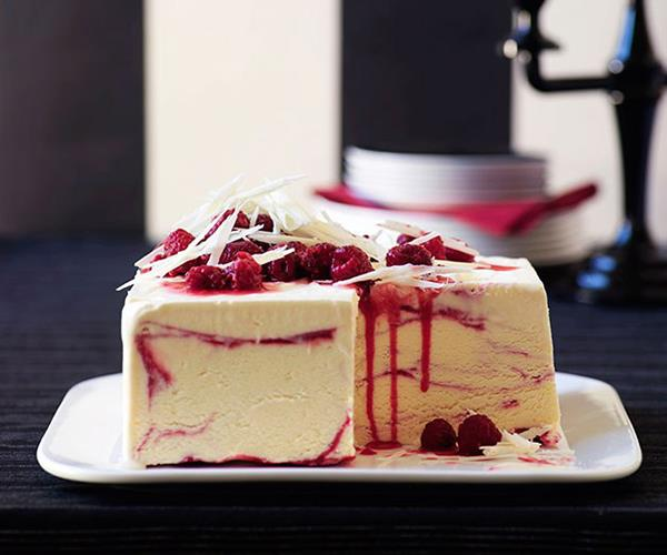 "[White chocolate and raspberry-ripple ice-cream cake](https://www.gourmettraveller.com.au/recipes/browse-all/white-chocolate-and-raspberry-ripple-ice-cream-cake-9953|target=""_blank"")"