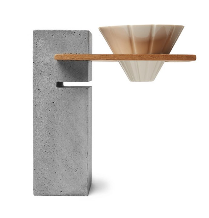 "**Bi.du.haev Basi coffee-stand** Part sculpture, part coffee-stand. This concrete pillar artfully suspends your brewing cone (for pour-over coffees) over your cup. The weighted design means it can hold the ceramic dripper, coffee grounds, and water, without tipping over. A clever addition to the kitchen bench. [mrporter.com](https://www.mrporter.com/en-au/mens/biduhaev/basi-pour-over-coffee-stand/1102761|target=""_blank""