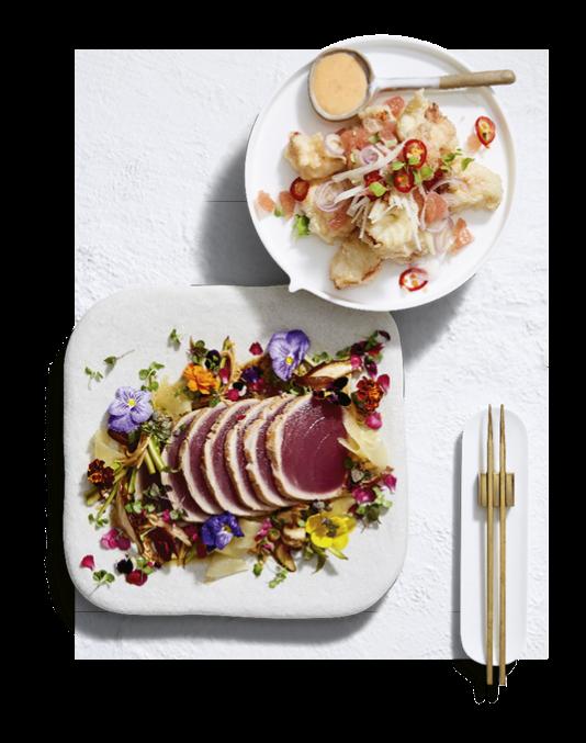 Chase Kojima's Moreton Bay bug tempura and wagyu striploin robata with foie gras and fig.