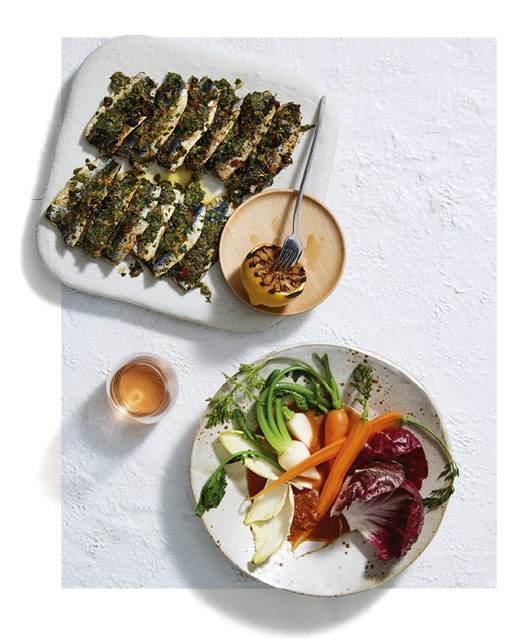 Vegetables with 'nduja dressing and sardines with chermoula.