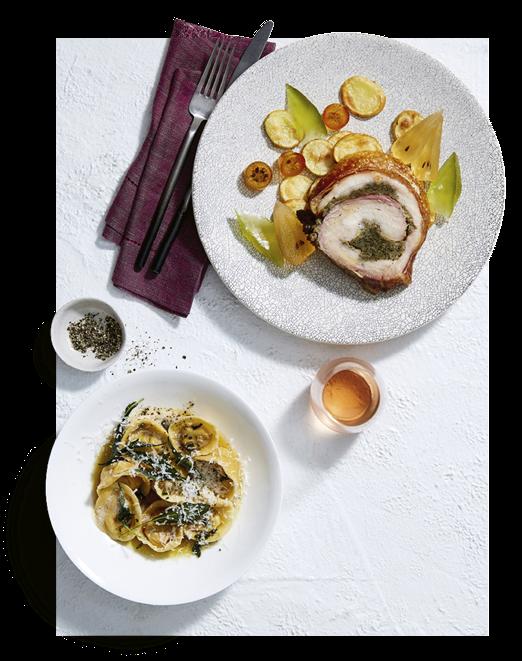 Guy Grossi's vitello Albese, dot sourdough with porchetta, and pumpkin tortellini.