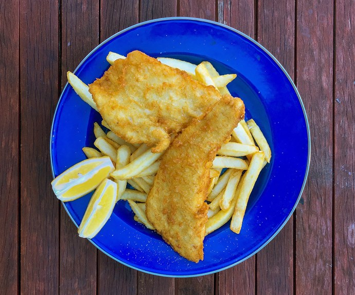 Fish and chips at Peaceful Bay. Photo: Max Veenhuyzen
