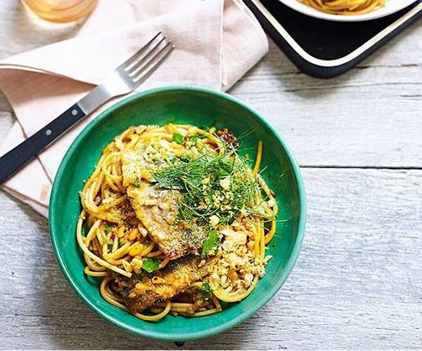 "[**Spaghetti with sardines, fennel and raisins**](https://www.gourmettraveller.com.au/recipes/chefs-recipes/spaghetti-with-sardines-fennel-and-raisins-9161 target=""_blank"")"