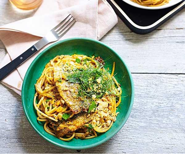"[**Spaghetti with sardines, fennel and raisins**](https://www.gourmettraveller.com.au/recipes/chefs-recipes/spaghetti-with-sardines-fennel-and-raisins-9161|target=""_blank"")"