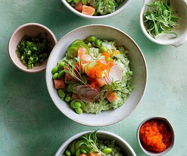 "[Ocean trout poke on matcha rice](http://www.gourmettraveller.com.au/recipes/browse-all/ocean-trout-poke-on-matcha-rice-12875|target=""_blank"")"