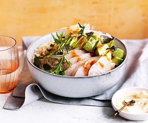 "[Kingfish poke with pickled ginger ponzu](http://www.gourmettraveller.com.au/recipes/fast-recipes/kingfish-poke-with-pickled-ginger-ponzu-15557|target=""_blank"")"