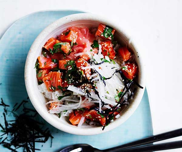 """[Trout and daikon rice bowl](https://www.gourmettraveller.com.au/recipes/fast-recipes/trout-rice-bowl-16912