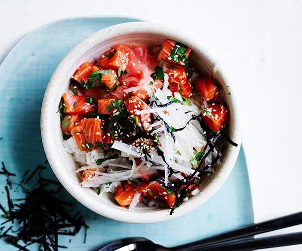 "[Trout and daikon rice bowl](https://www.gourmettraveller.com.au/recipes/fast-recipes/trout-rice-bowl-16912|target=""_blank"")"