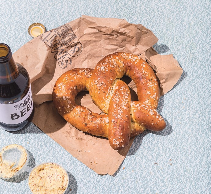 Dill pretzels with wholegrain mustard butter, as featured in *Smith & Deli-cious Food From a Deli (that happens to be vegan)*.