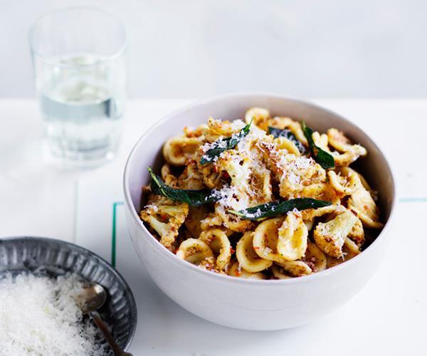 """**[Orecchiette with cauliflower and walnut brown-butter pesto](https://www.gourmettraveller.com.au/recipes/fast-recipes/orecchiette-with-cauliflower-and-walnut-brown-butter-pesto-13859 target=""""_blank"""")**"""