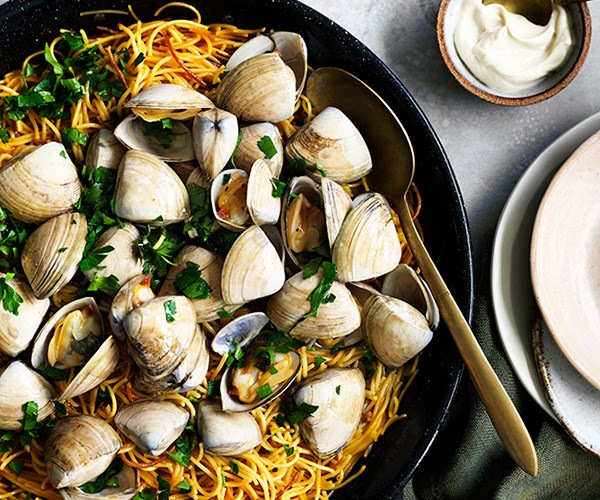 "[Fideuà with clams](http://www.gourmettraveller.com.au/recipes/fast-recipes/fideua-with-clams-13716|target=""_blank"")"