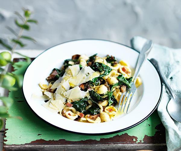 """**[Orecchiette with cavolo nero and porcini](http://www.gourmettraveller.com.au/recipes/fast-recipes/orecchiette-with-cavolo-nero-and-porcini-13611 target=""""_blank"""")**"""