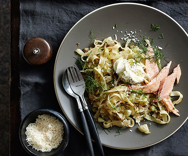 "[Tagliatelle with caramelised fennel, smoked trout and crème fraîche](http://www.gourmettraveller.com.au/recipes/fast-recipes/tagliatelle-with-caramelised-fennel-smoked-trout-and-creme-fraiche-13492|target=""_blank"")"