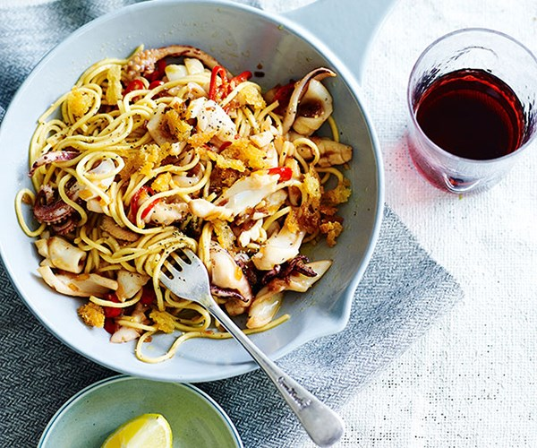 "[Spaghettini with calamari, rosemary and lemon](http://www.gourmettraveller.com.au/recipes/fast-recipes/spaghettini-with-calamari-rosemary-and-lemon-13474|target=""_blank"")"
