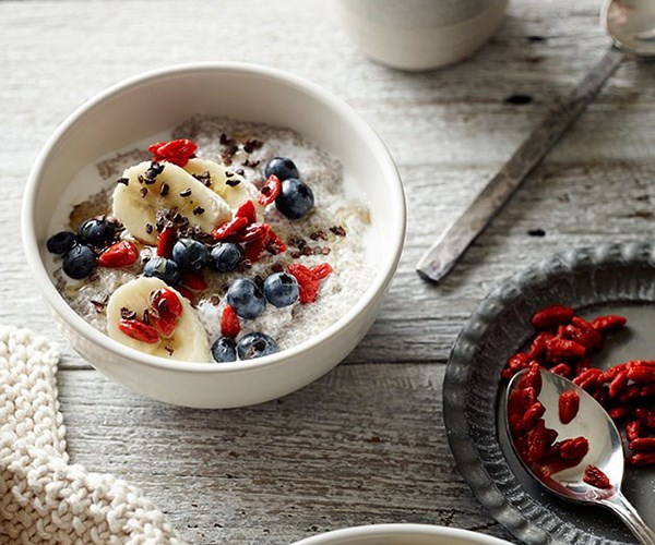 """[Chia-seed puddings with blueberries, banana and goji berries](https://www.gourmettraveller.com.au/recipes/chefs-recipes/chia-seed-puddings-with-blueberries-banana-and-goji-berries-8302