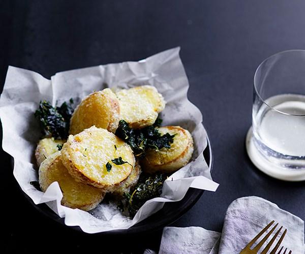 "[Mat Lindsay's (Poly) potato scallops](https://www.gourmettraveller.com.au/recipes/chefs-recipes/potato-scallops-8638 target=""_blank"")"