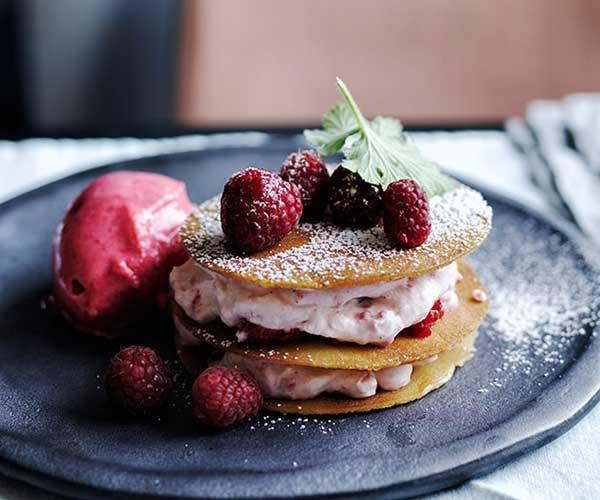 "[Stephanie Alexander's raspberry and rose-geranium sorbet with honey wafers, raspberries and cream](http://www.gourmettraveller.com.au/recipes/chefs-recipes/stephanie-alexanders-raspberry-and-rose-geranium-sorbet-with-honey-wafers-raspberries-and-cream-8535|target=""_blank"")"